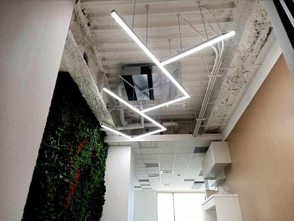 在草木盤根交錯的工業風天花背景下,以燈光重現空間美學的脈絡